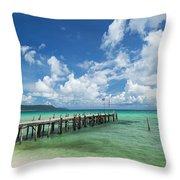 Sok San Pier On Long Beach In Koh Rong Island Cambodia Throw Pillow