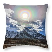 Solar Corona Above The Ama Dablam Throw Pillow
