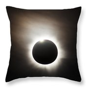 Solar Eclipse With Diamond Ring Effect Throw Pillow by Philip Hart