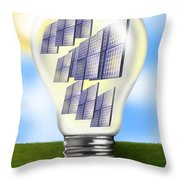 Solar Power Lightbulb Throw Pillow