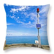 Solar-powered Light In Halls Harbour In Nova Scotia-canada Throw Pillow