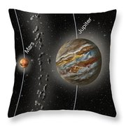Solar System Orbits, Illustration Throw Pillow