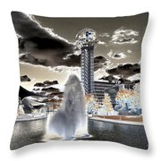 Solarized Infrared City Park Throw Pillow