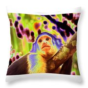 Solarized White-faced Monkey Throw Pillow