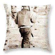 Soldier Boys Wooden Rifles Throw Pillow