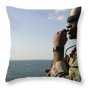 Soldier Instructs Small Boat Maneuvers Throw Pillow