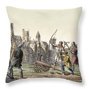 Soldiers And Artillery Of The 15th Throw Pillow
