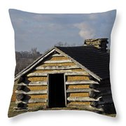 Soldiers' Barracks At Valley Forge Throw Pillow