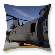 Soldiers Being Briefed Behind A Ch-47 Throw Pillow