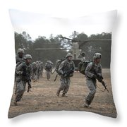 Soldiers Exit A Ch-47 Chinook Throw Pillow