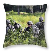 Soldiers Maintain Security At Fort Throw Pillow