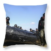 Soldiers Of The Japan Ground Throw Pillow