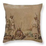 Soldiers Relaxing, 1844 Wc & Gouache On Paper Throw Pillow