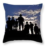 Soldiers Watch Troop Movements At Fort Throw Pillow