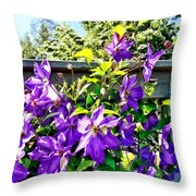 Solina Clematis On Fence Throw Pillow