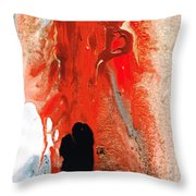 Solitary Man - Red And Black Abstract Art Throw Pillow