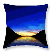 Solitary Sailboat Sunrise Throw Pillow by Anne Mott