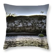Solo At The Harbor At Dusk 2 Throw Pillow