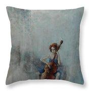 Solo Celloist Throw Pillow