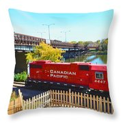 Solo Red Canadian Pacific Engine Along Rock River In Rockford Throw Pillow