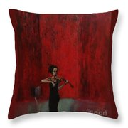 Solo Violinist Throw Pillow