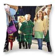 Some Sisters Enjoying Themselves At The 2009 New York St. Patrick Day Parade Throw Pillow