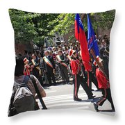 Some Young Flag Bearers Marching In The St. Patrick Old Cathedral Parade Throw Pillow