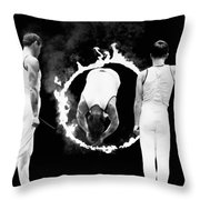 Somersault Through Flames Throw Pillow