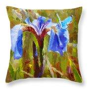 Alaskan Wild Iris And Blue Butterfly Flower Painting Throw Pillow