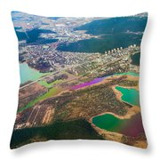 Somewhere Over Latvia. Rainbow Earth Throw Pillow