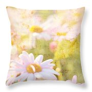 Song Of Spring I - Lovely Soft Pink Daisies Throw Pillow