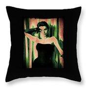 Sophia Loren - Green Pop Art Throw Pillow