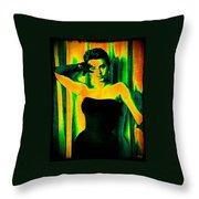 Sophia Loren - Neon Pop Art Throw Pillow