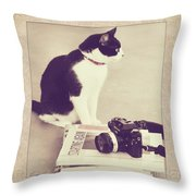 Sophie And The Camera Throw Pillow