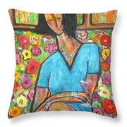Sophies Letter Throw Pillow by Chaline Ouellet