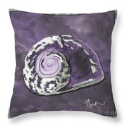 Sophisticated Coastal Art Original Sea Shell Painting Purple Royal Sea Snail By Madart Throw Pillow