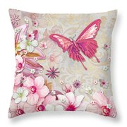 Sophisticated Elegant Whimsical Pink Butterfly Floral Flower Art Springs Joy By Megan Duncanson Throw Pillow by Megan Duncanson