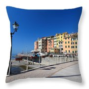 Sori Waterfront. Italy Throw Pillow