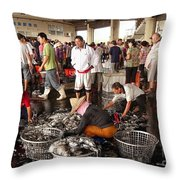 Sorting Fresh Squid Into Baskets Throw Pillow