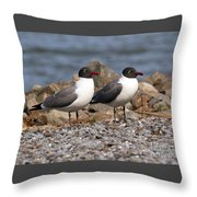 Mr. And Mrs. Laughing Gull  Throw Pillow
