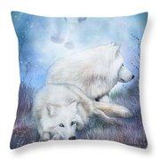 Soul Mates - White Wolves Throw Pillow