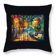 Soul Of The Rain - Palette Knife Oil Painting On Canvas By Leonid Afremov Throw Pillow