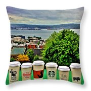 Sound Coffees Throw Pillow by Benjamin Yeager