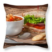 Soup And Sandwich Throw Pillow