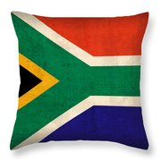 South Africa Flag Vintage Distressed Finish Throw Pillow