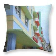 South Beach Facades Throw Pillow