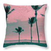 South Beach Miami Tropical Art Deco Five Palms Throw Pillow