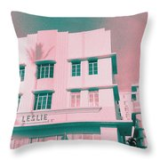 South Beach Miami Leslie Tropical Art Deco Hotel Throw Pillow