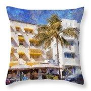 South Beach Miami Art Deco Buildings Throw Pillow
