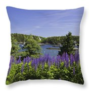 South Bristol And Lupine Flowers On The Coast Of Maine Throw Pillow